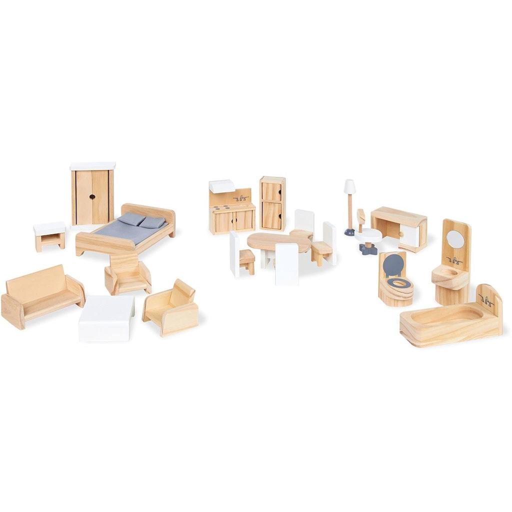 Pinolino® Puppenhausmöbel »Puppenhauseinrichtung aus Holz«, (Set, 20 tlg.), aus Holz