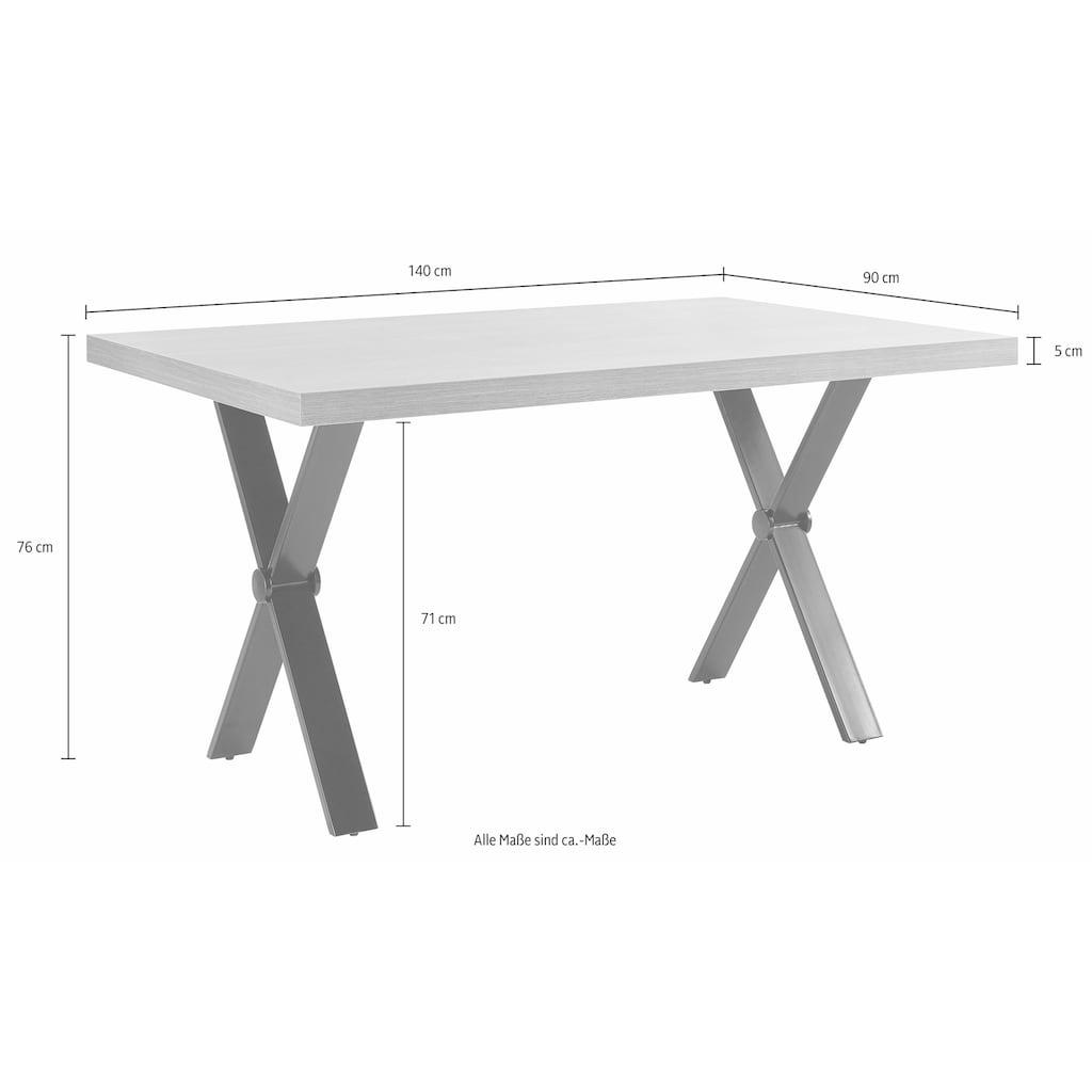 Homexperts Essgruppe »Colt«, (Set, 5 St.), Tisch, Breite 140 cm, 2 Bänke, Breite je 140 cm und 2 Freischwinger, Microfaserbezug in Vintage-Optik