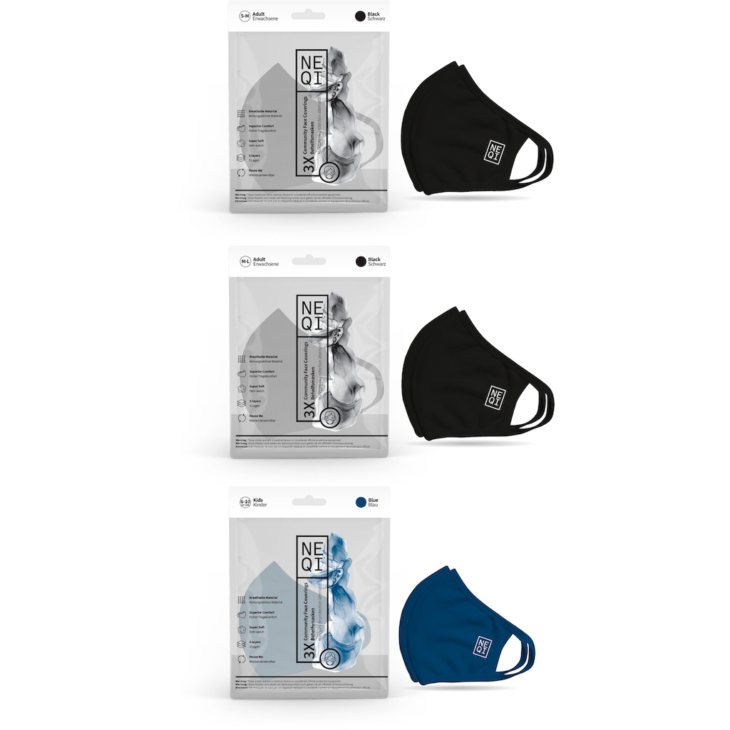 NEQI Mund-Nasen-Masken, für die ganze Familie