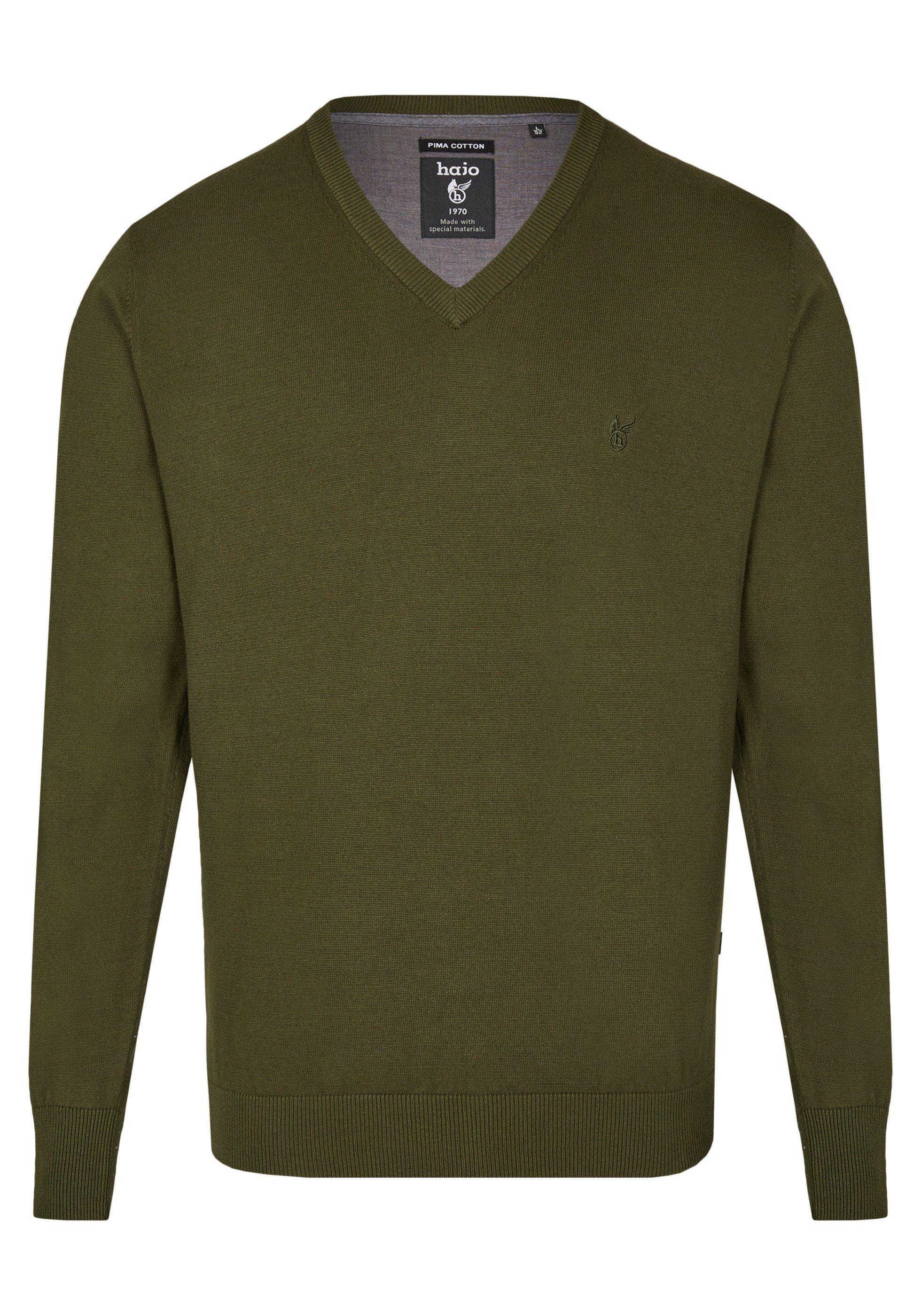 Hajo V-Pullover »Pima Cotton« | Bekleidung > Pullover > V-Pullover | Grün | Baumwolle | Hajo