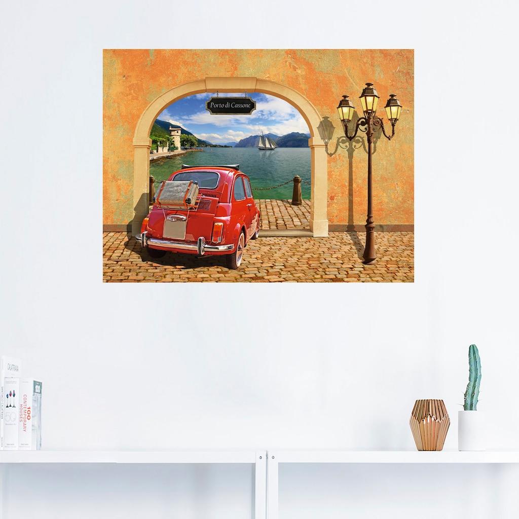 Artland Wandbild »Kleiner italienischer Hafen«, Auto, (1 St.), in vielen Größen & Produktarten -Leinwandbild, Poster, Wandaufkleber / Wandtattoo auch für Badezimmer geeignet