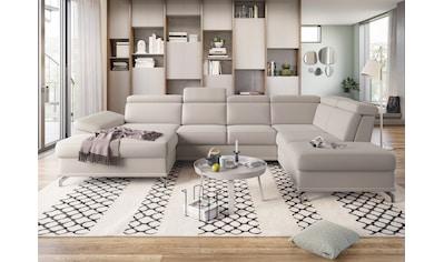 sit&more Wohnlandschaft, mit Sitztiefenverstellung und Federkern, wahlweise mit Bettfunktion und Bettkasten, jeweils inklusive 3 Nierenkissen kaufen