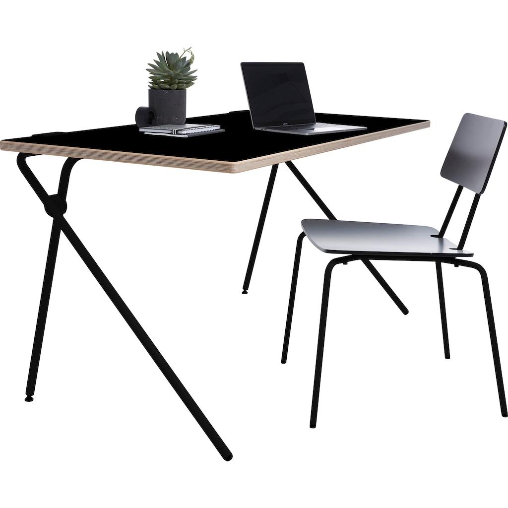 Müller SMALL LIVING Sekretär »PLATO One«, schwarzes Gestell, Home Office minimal, einfach zusammenklappen, fertig