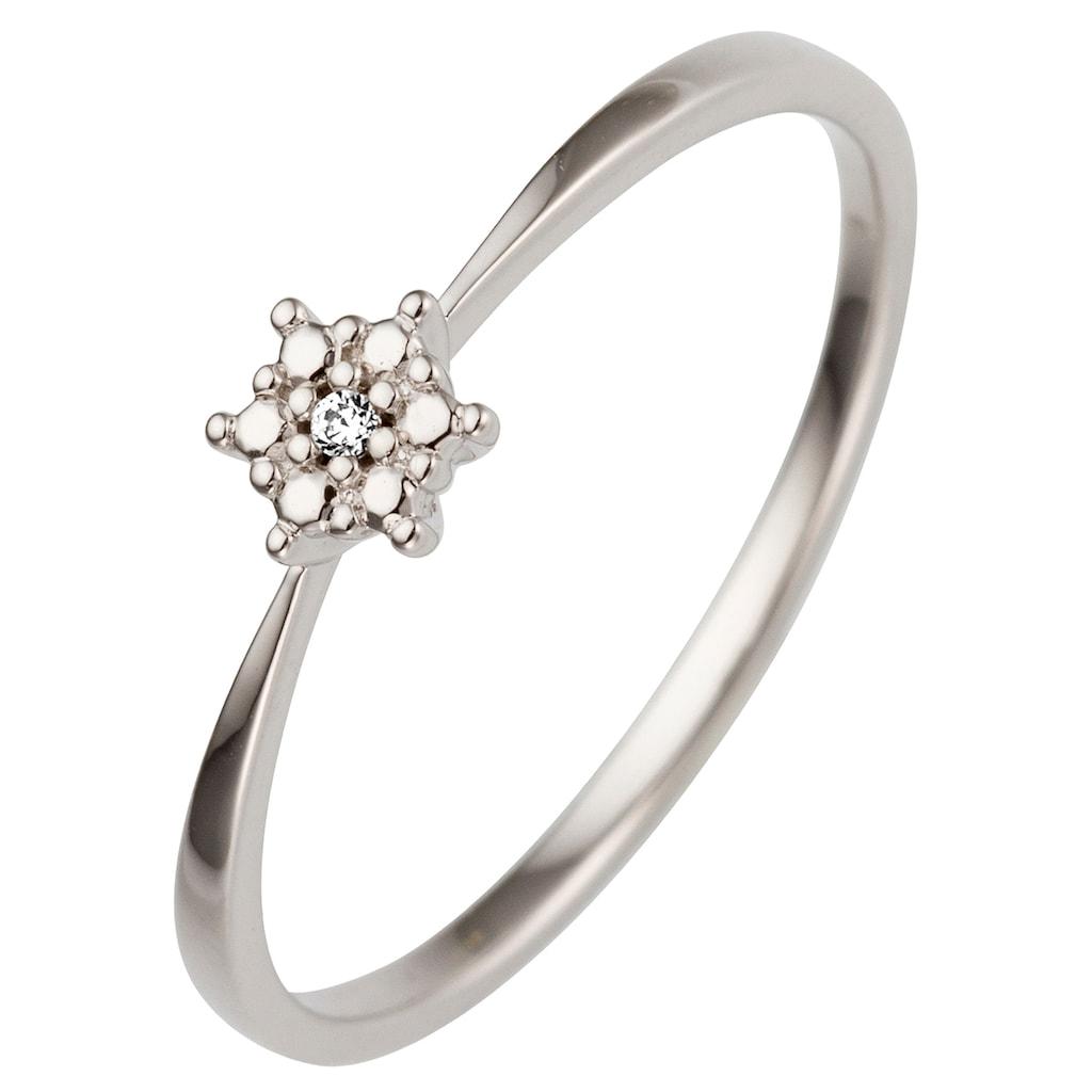 JOBO Fingerring, 585 Weißgold mit Diamant