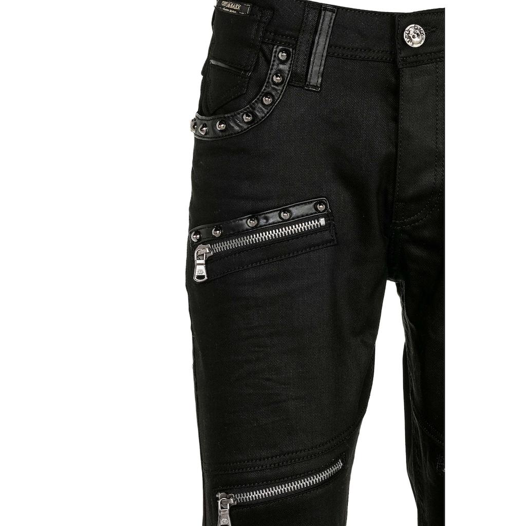 Cipo & Baxx Slim-fit-Jeans, mit Leder Einsatz
