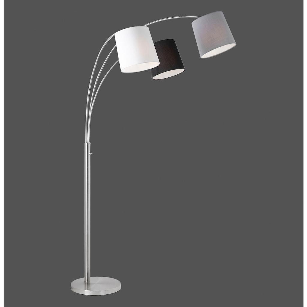 Home affaire Stehlampe »MELVIN«, E27, 1 St., Farbige Lampenschirme - weiß, grau und schwarz, Kippschalter an der Stehleuchte, Materialmix - Metall und Textil/Stoff