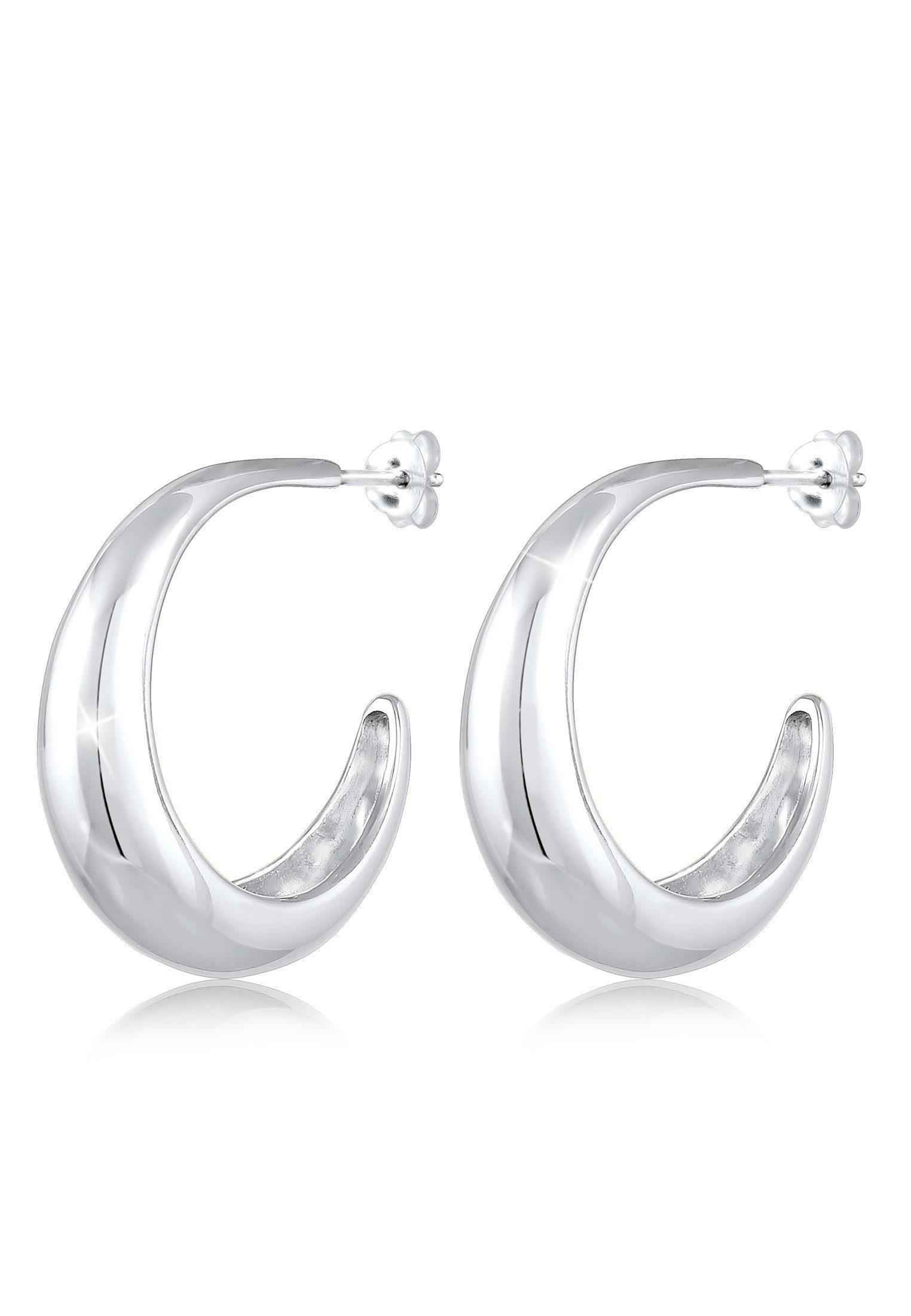 elli -  Paar Creolen Creolen Hänger Chunky Hoops Basic Cool 925 Silber