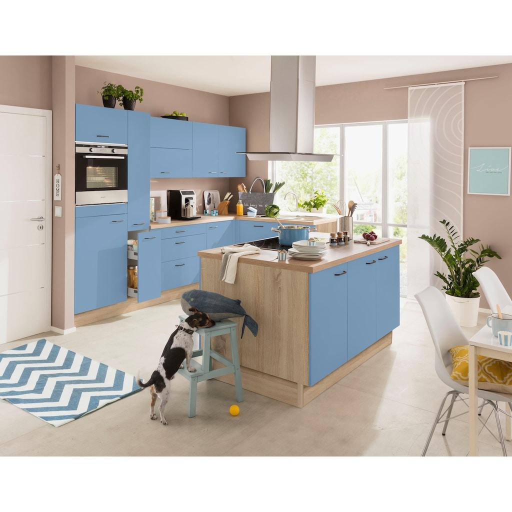 OPTIFIT Winkelküche »Elga«, ohne E-Geräte, Premium-Küche mit Soft-Close-Funktion, großen Vollauszügen, höhenverstellbaren Füßen, Metallgriffen und 38 mm starker Arbeitsplatte, Stellbreite 265 x 175 cm