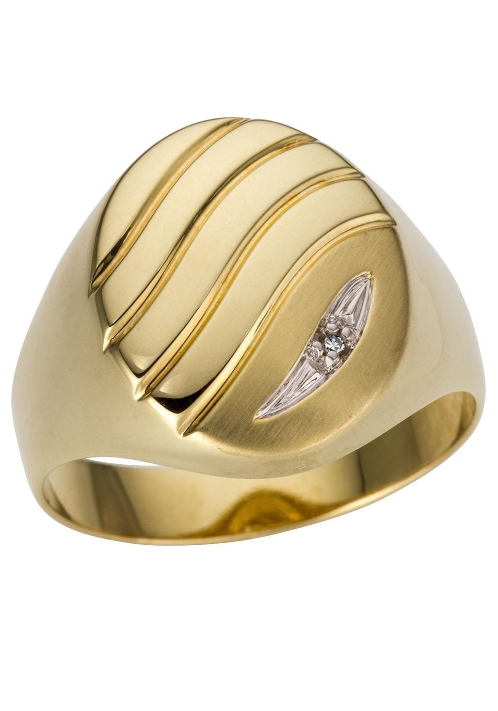 Firetti Goldring Glanz rhodiniert matt bicolor Ringkopf mit Rillen | Schmuck > Ringe | Firetti