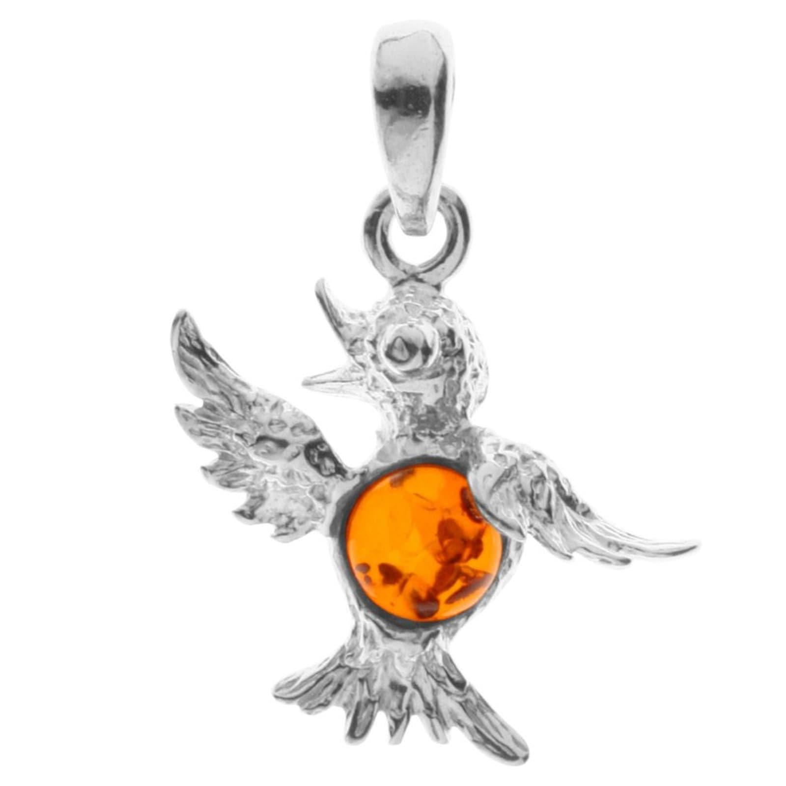 OSTSEE-SCHMUCK Kettenanhänger Kolibri Silber 925/000 Bernstein | Schmuck > Halsketten > Silberketten | Ostsee-Schmuck
