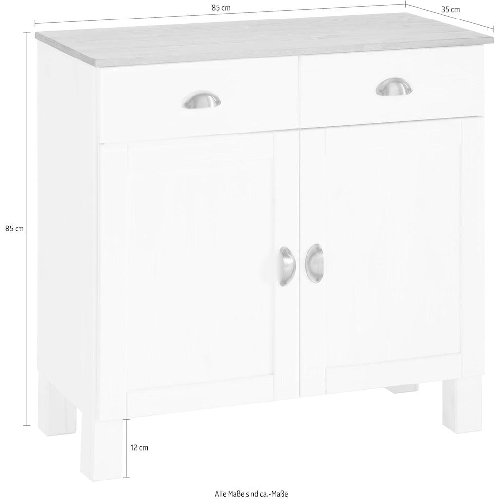 Home affaire Unterschrank »Oslo«, 85 cm breit, 38 cm tief, als Sideboard nutzbar, 2 Türen, 2 Schubkästen, aus massiver Kiefer, Metallgriffe, Landhaus-Optik