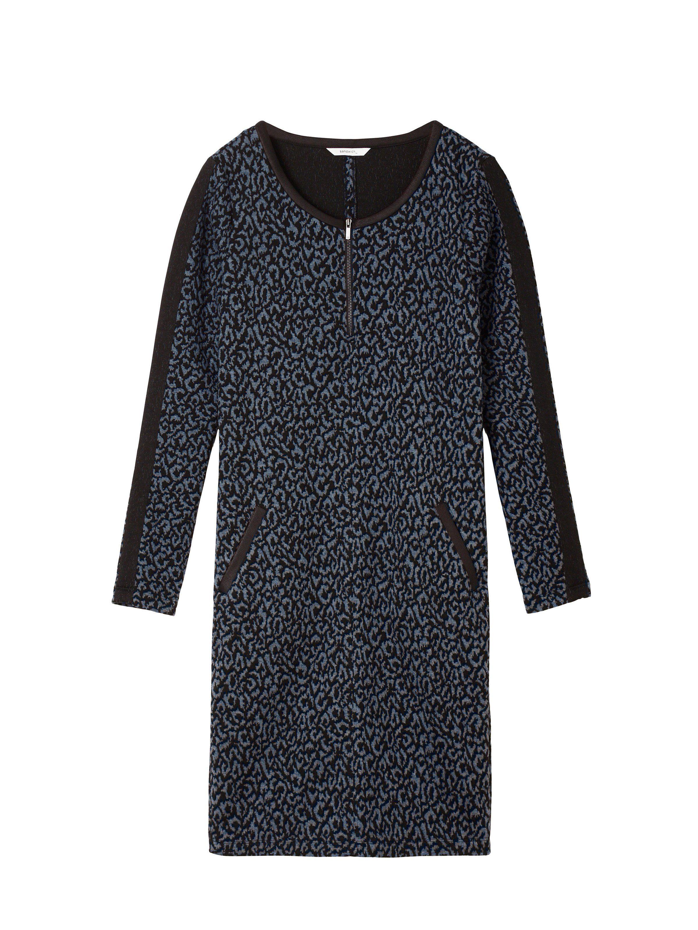 sandwich Jacquard-Kleid mit Leopardenprint und Reißverschluss