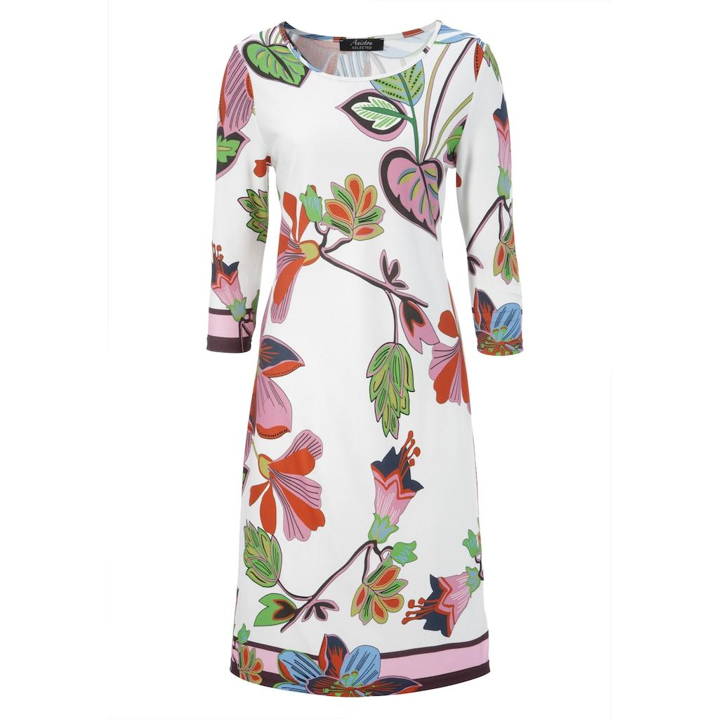 Aniston SELECTED Jerseykleid, im farbenfrohen Druck und gestreiften Abschlüssen - NEUE KOLLEKTION