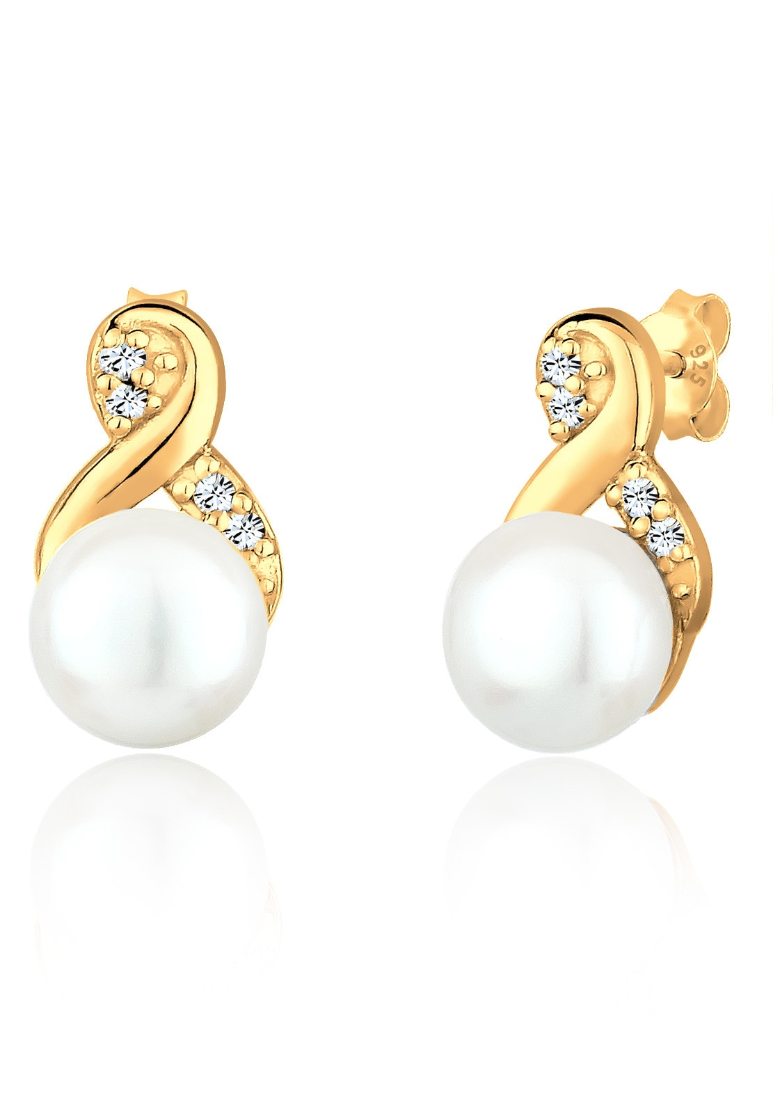 PERLU Paar Ohrstecker Infinity Perle Swarovski Kristalle 925 Silber | Schmuck > Ohrschmuck & Ohrringe > Ohrstecker | Goldfarben | Perlu