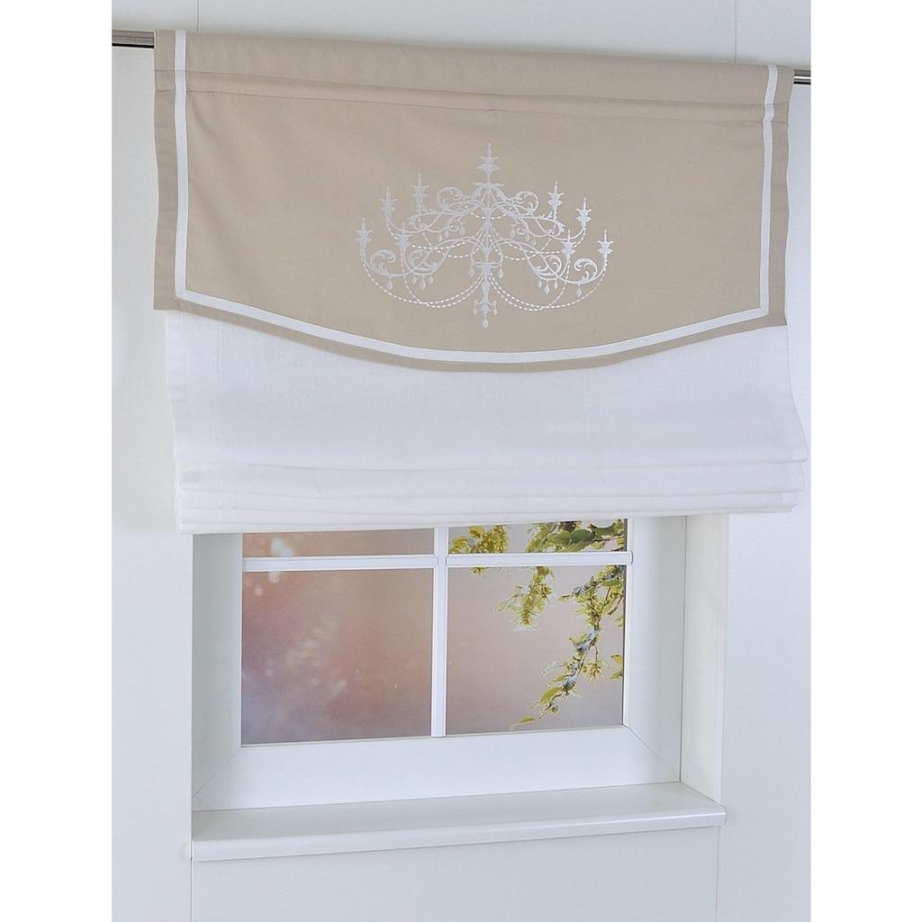 Kutti Raffrollo »Versailles«, mit Stangendurchzug, freihängend, mit Stangendurchzug