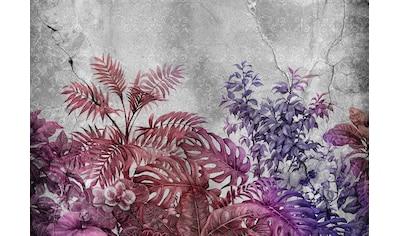 Consalnet Papiertapete »Violette Pflanzen/Beton«, floral kaufen