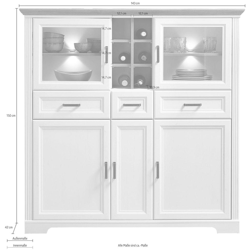 Innostyle Highboard »Jasmin«, 2 Glas-/Holztüren, 8 offene Fächer, inkl. LED-Beleuchtung