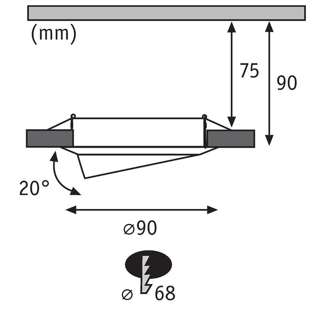 Paulmann LED Einbaustrahler »schwenbar Base rund Eisen gebürstet 3x5W GU10 3-Stufen-dimmbar«, GU10, 3 St., Warmweiß