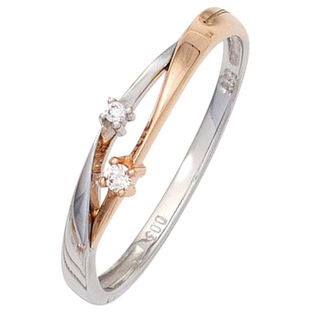 JOBO Diamantring, 585 Gold bicolor mit 2 Diamanten