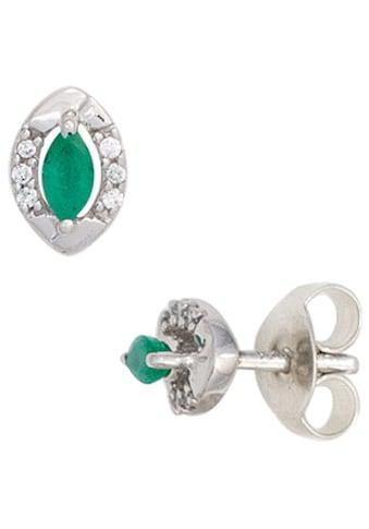 JOBO Paar Ohrstecker, oval 333 Weißgold mit 12 Diamanten und Smaragd kaufen