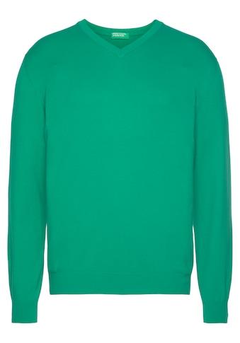 United Colors of Benetton V-Ausschnitt-Pullover, unifarben kaufen