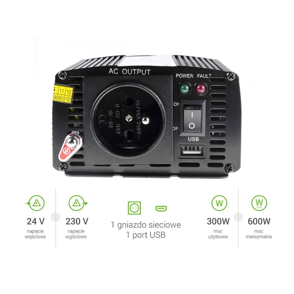 Green Cell Spannungswandler »INV02DE Auto Inverter 24V - 230V Spannungswandler«, 12V zu 230V, 300W / 600W