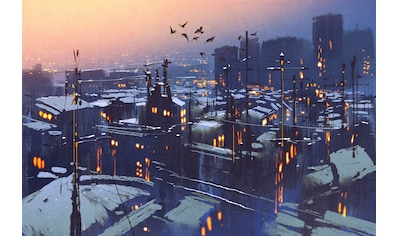 queence Leinwandbild »Stadt bei Nacht« kaufen