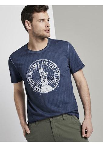 TOM TAILOR T-Shirt »Gestreiftes T-Shirt mit NYC-Print« kaufen