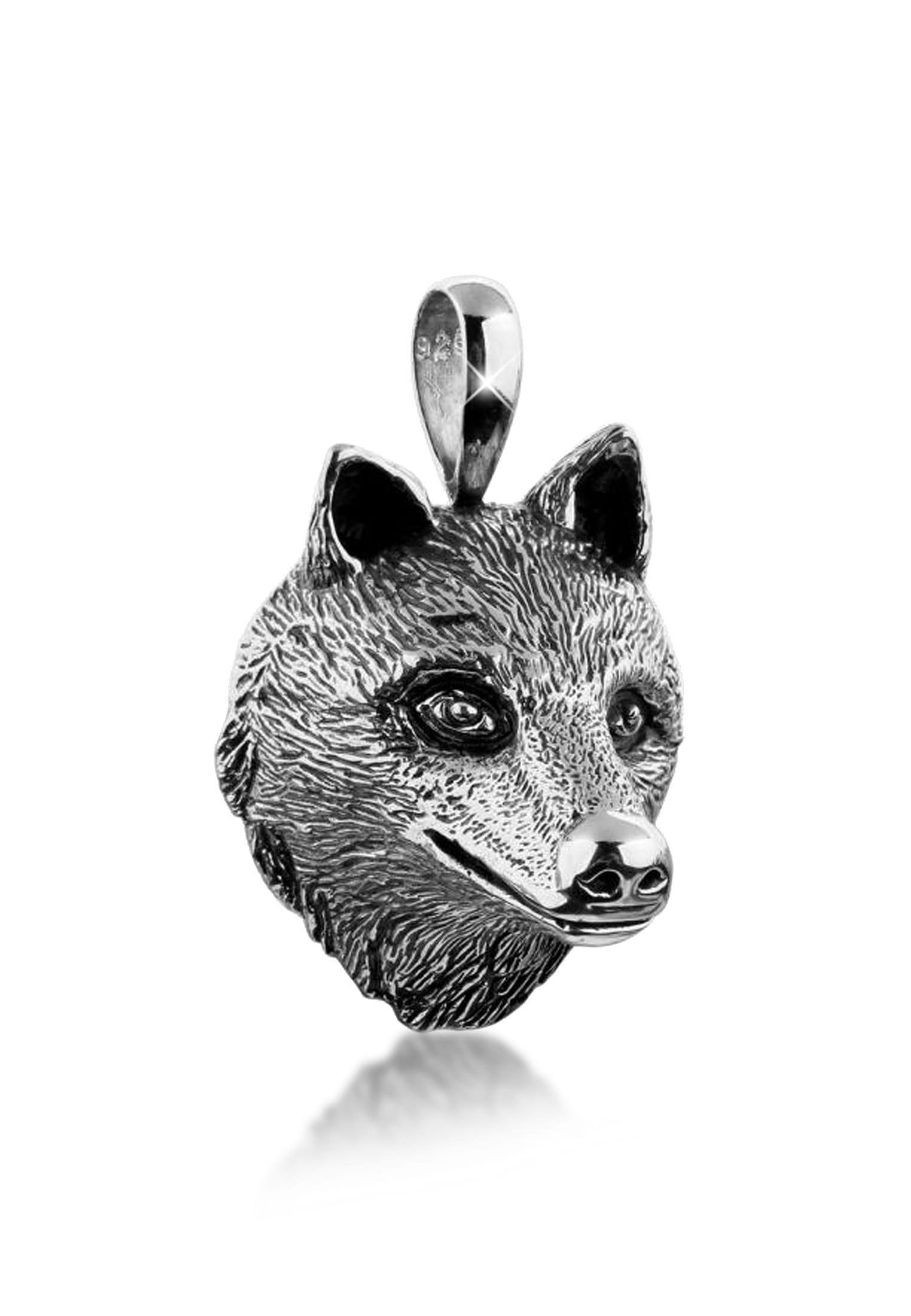 Kuzzoi Kettenanhänger Herren Kettenanhänger Wolfkopf Robust 925 Silber | Schmuck > Halsketten | Kuzzoi