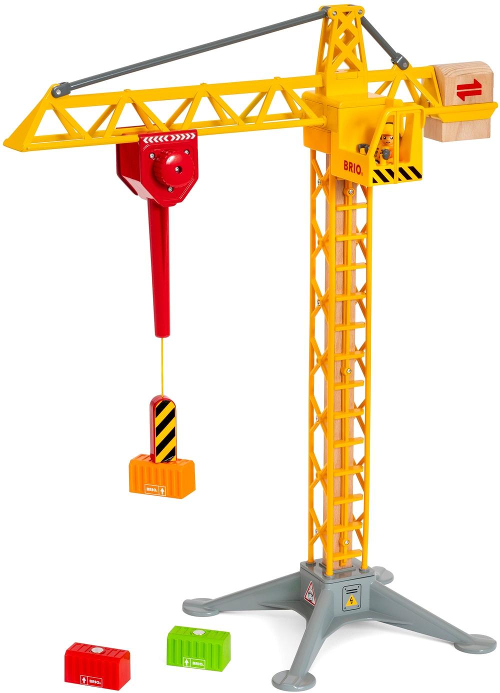 BRIO Spielzeug-Kran WORLD Großer Baukran mit Licht bunt Kinder Ab 3-5 Jahren Altersempfehlung Spielzeugfahrzeuge