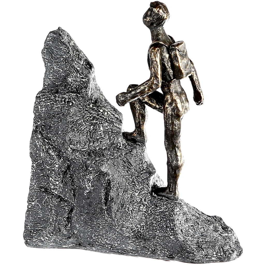 Casablanca by Gilde Dekofigur »Skulptur Wanderer, bronzefarben/grau«, Dekoobjekt, Höhe 20, Mann mit Rucksack, mit Spruchanhänger, Wohnzimmer