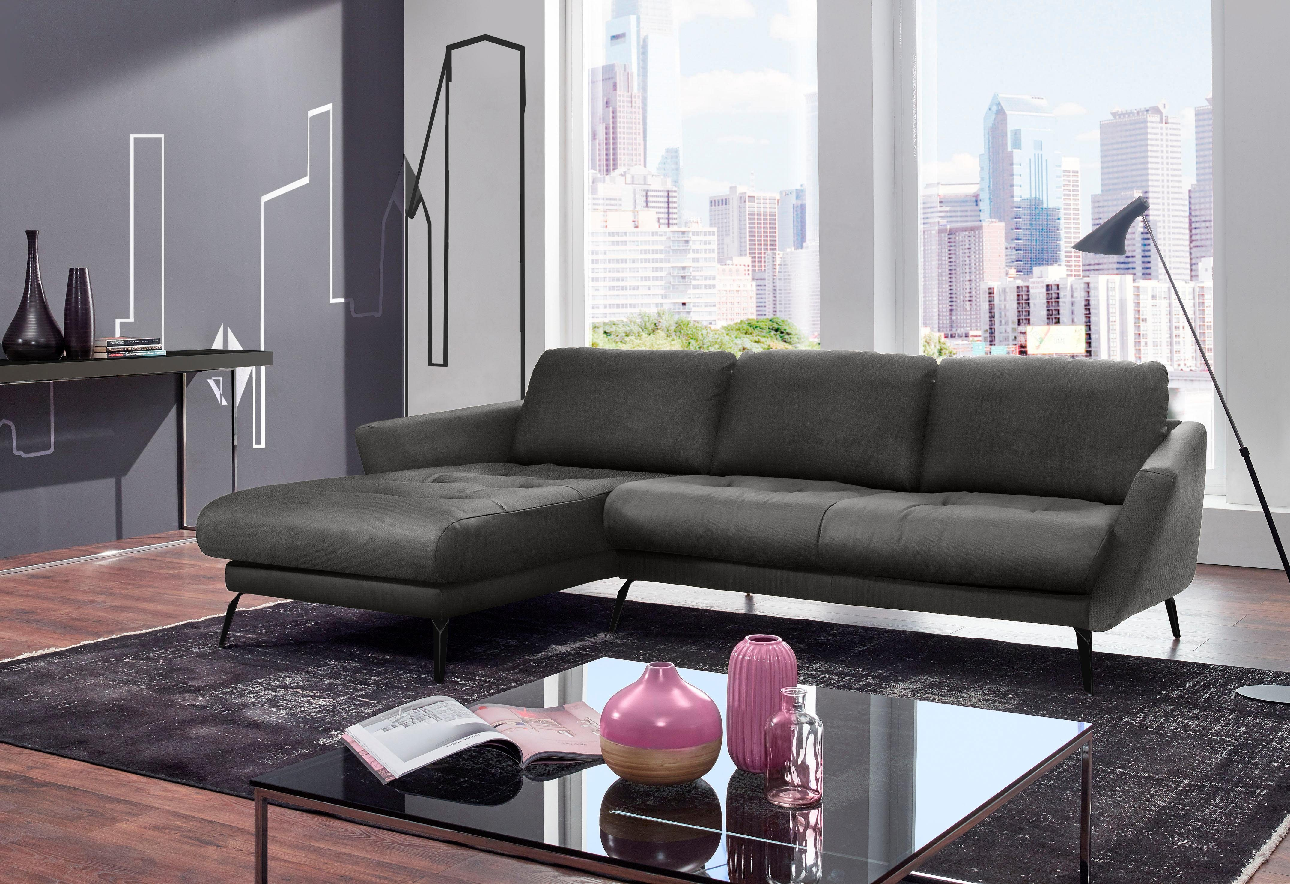 W.SCHILLIG Ecksofa softy, mit dekorativer Heftung im Sitz, Füße schwarz pul günstig online kaufen