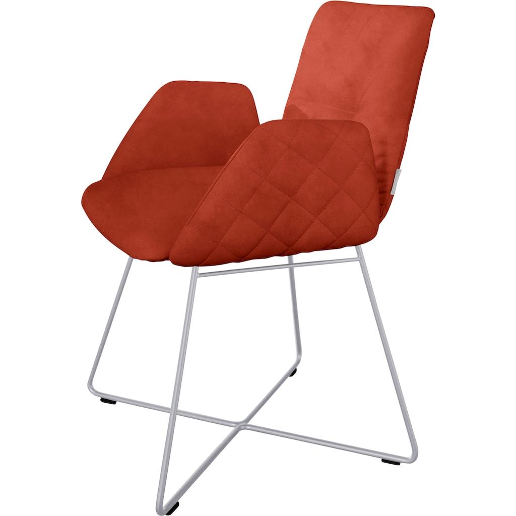 W.SCHILLIG Armlehnstuhl »lotta«, mit Rücken- & Seitenteilsteppung, Drahtrohrgestell in Silber matt