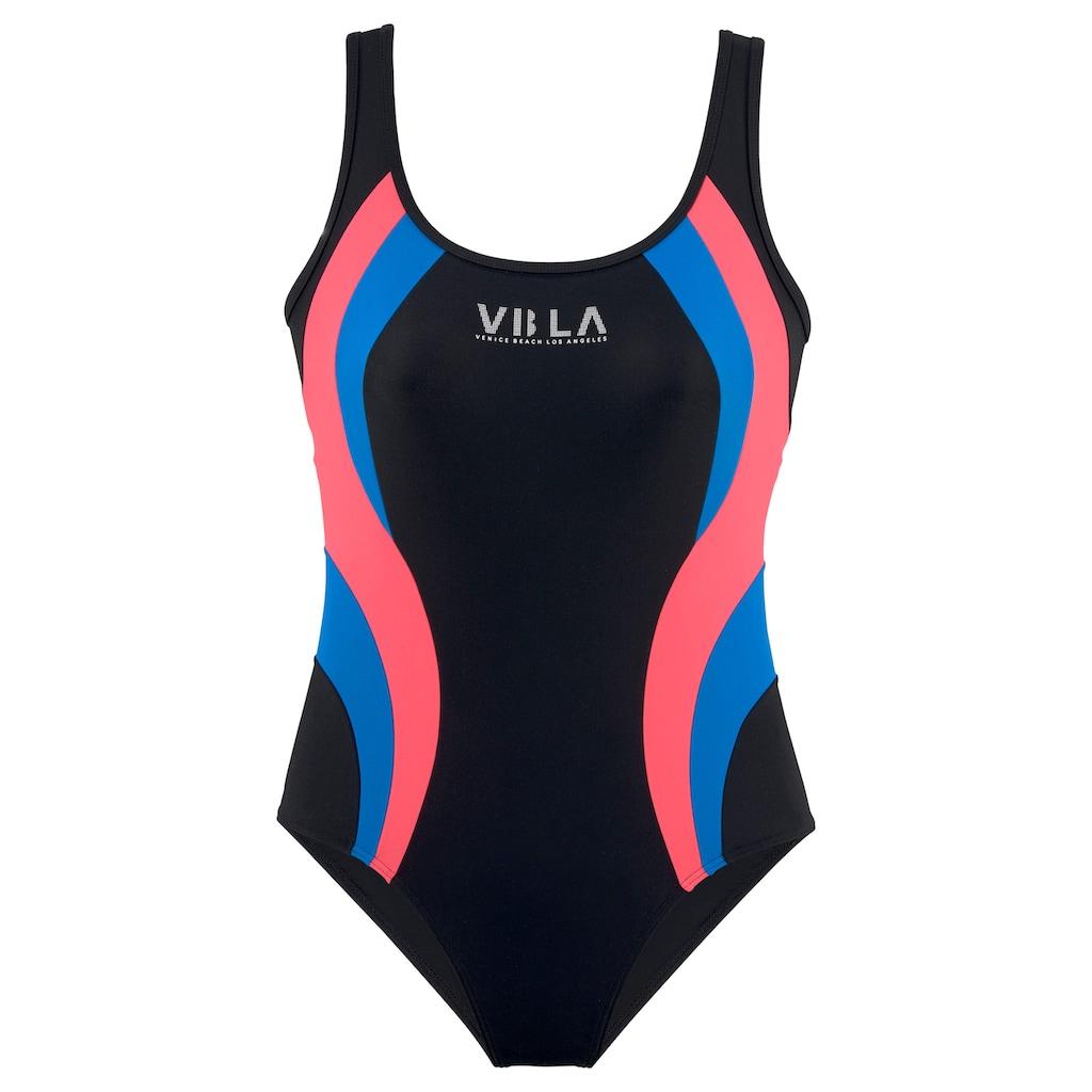 Venice Beach Badeanzug, Mit Logodruck und Colorblocking-Einsätzen