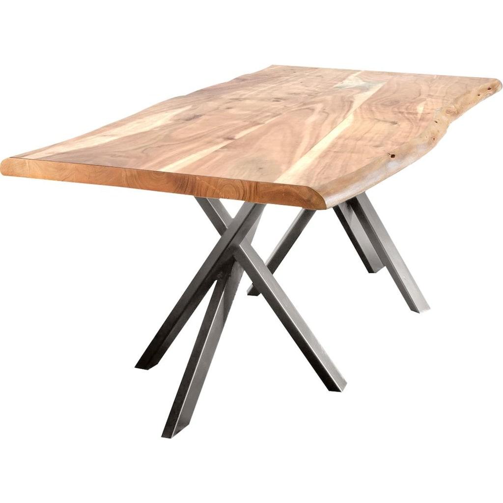 SIT Esstisch »Tables«, mit Baumkante und extravagantem Gestell aus Metall, Shabby Chic, Vintage