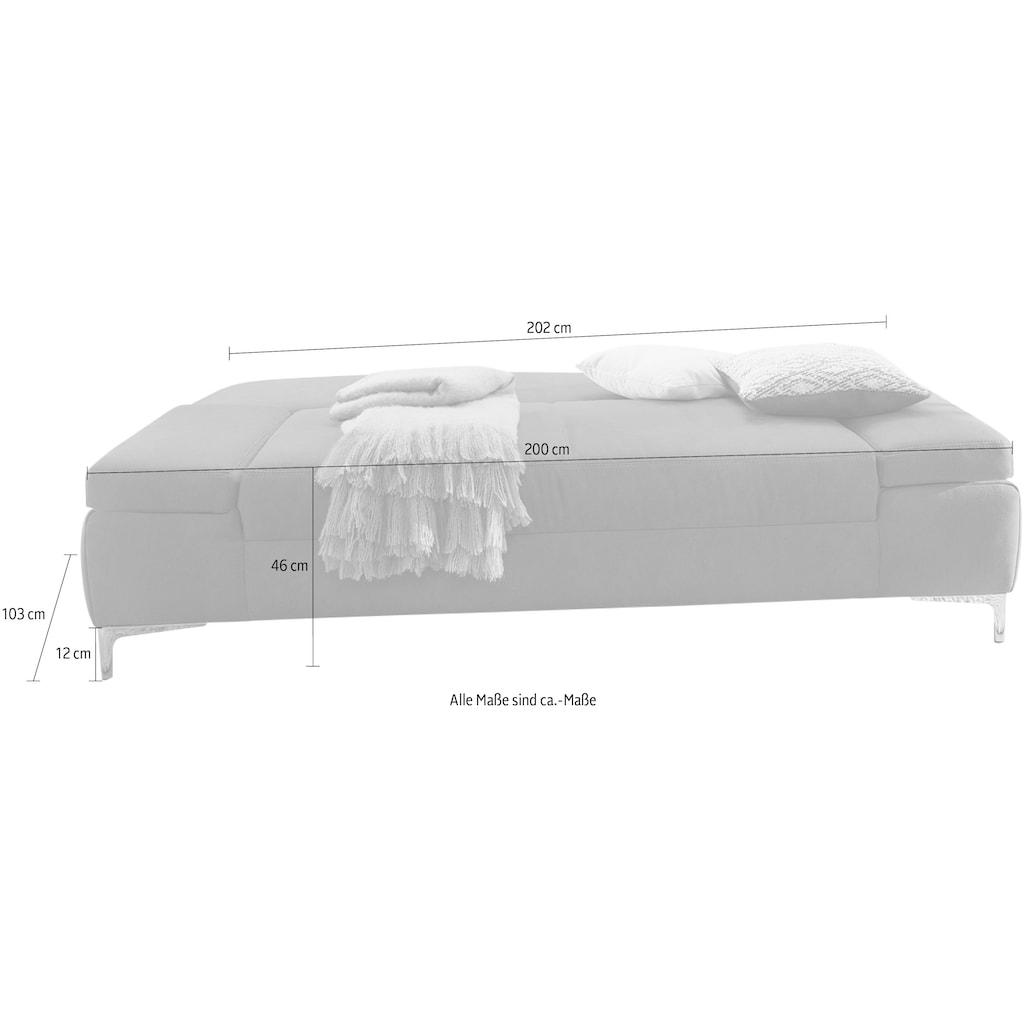 Jockenhöfer Gruppe Schlafsofa, klassisches Schlafsofa mit individuell, verstellbaren Armlehnen, Stauraum und tollem Stoff in Dicklederoptik
