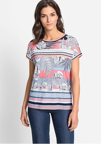 Olsen Rundhalsshirt, mit exotischen Blumen uns Streifen kaufen