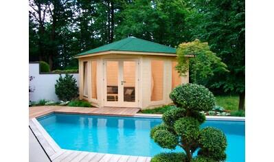 WOLFF FINNHAUS Set: Gartenhaus »Katrin 44 - C«, BxT: 447x447 cm, Fußboden, grüne Schindeln, Dachhaube kaufen
