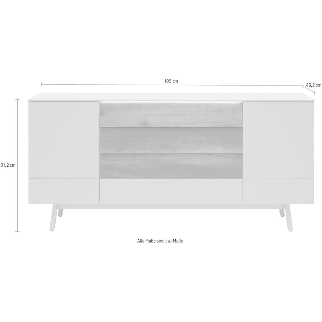 GWINNER Sideboard »Misano SB4«, in Lack fango, wahlweise mit Beleuchtung, Breite 195 cm