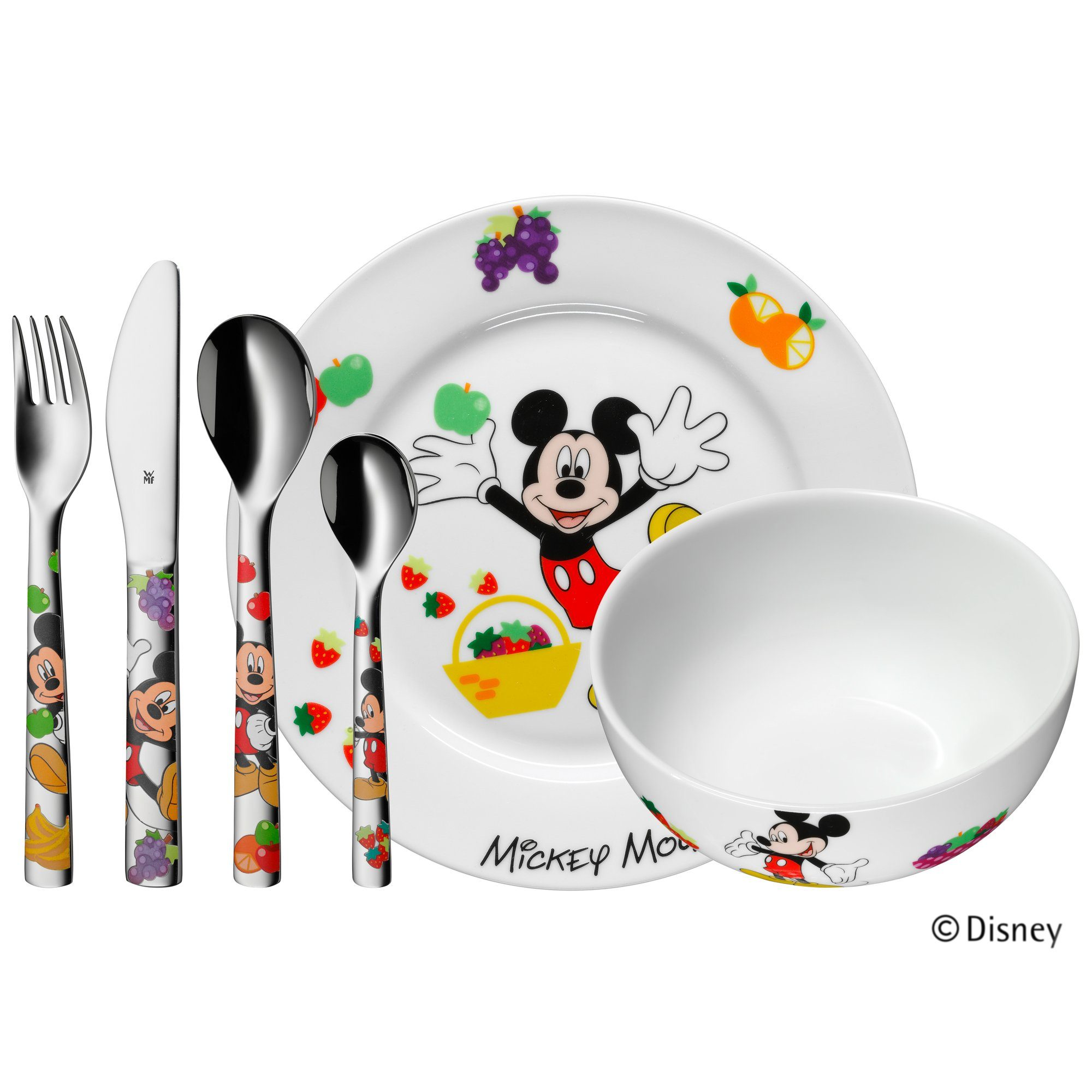 Kinderbesteck-Set 6-teilig Mickey Mouse bunt