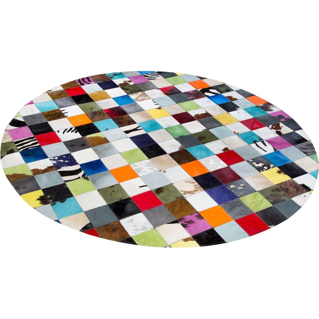 Trendline Fellteppich »Kunterbund«, rund, 3 mm Höhe, Patchwork, handgenäht, echtes gefärbtes Rinderfell, Wohnzimmer