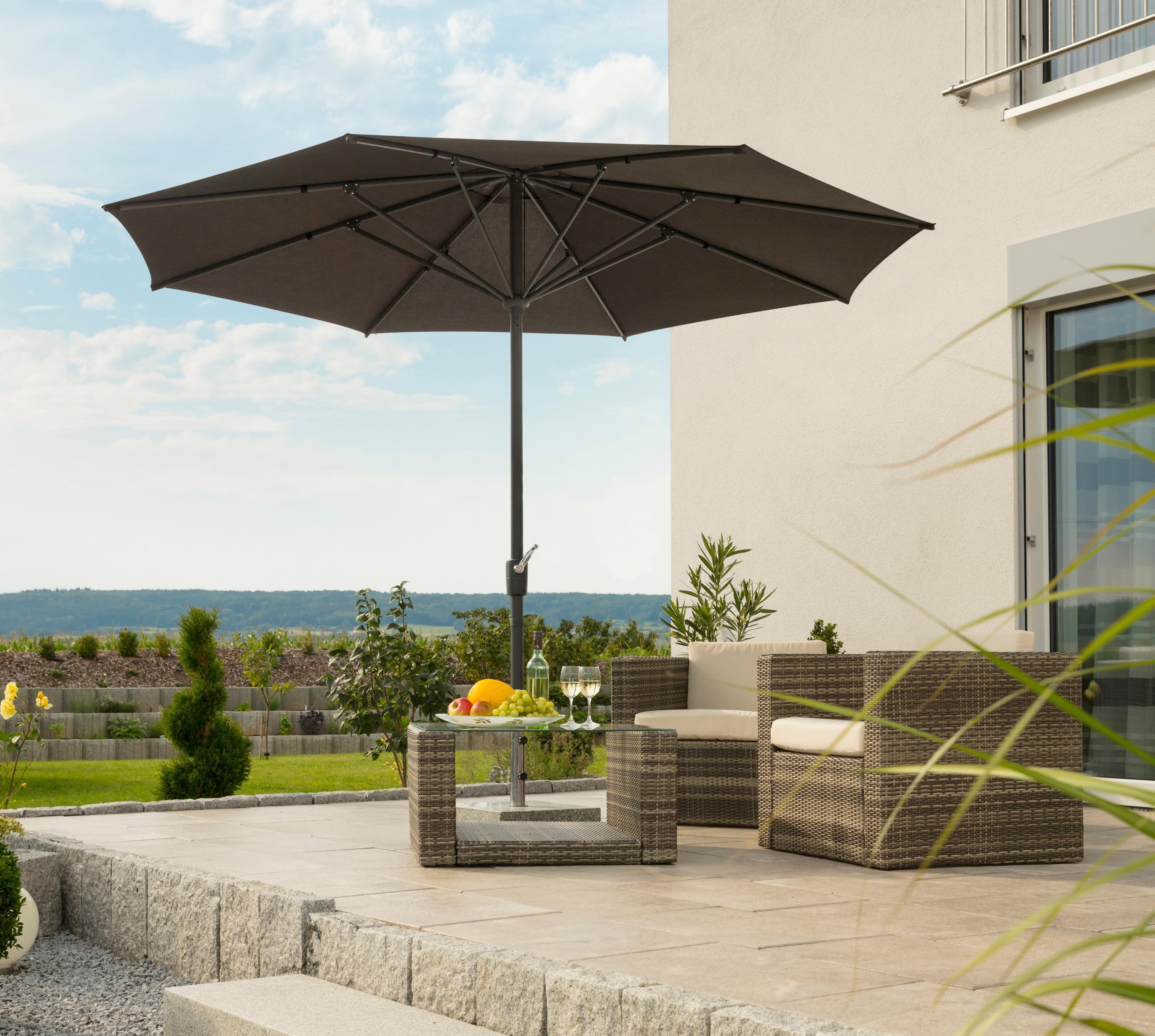 Schneider Schirme Sonnenschirm Korsika, ohne Schirmständer braun Sonnenschirme -segel Gartenmöbel Gartendeko
