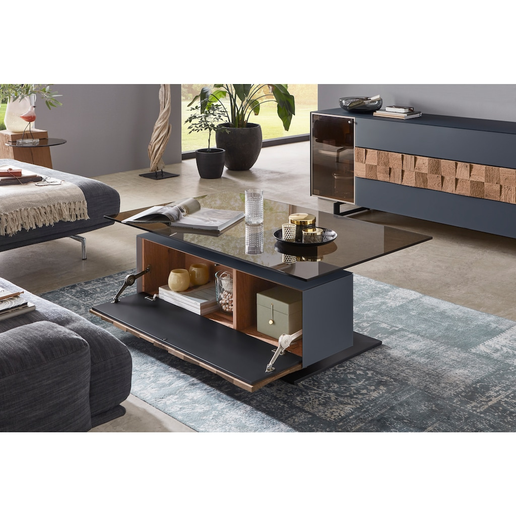 LEONARDO Couchtisch »LIV«, Massivholzkacheln enthalten, Breite 125 cm, wahlweise mit Mattglas in blau oder grau