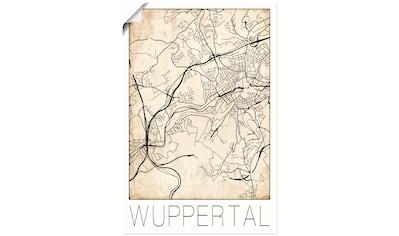 Artland Wandbild »Retro Karte Wuppertal Deutschland Grunge« kaufen