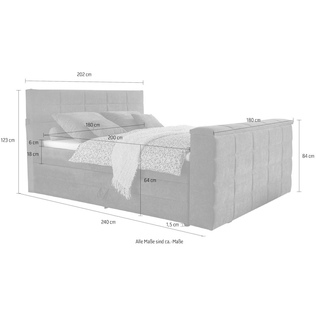 Boxspringbett »Denver«, (7 St.), inkl. zwei Bettkästen, Topper und motorisierter TV-Halterung bis 40 Zoll