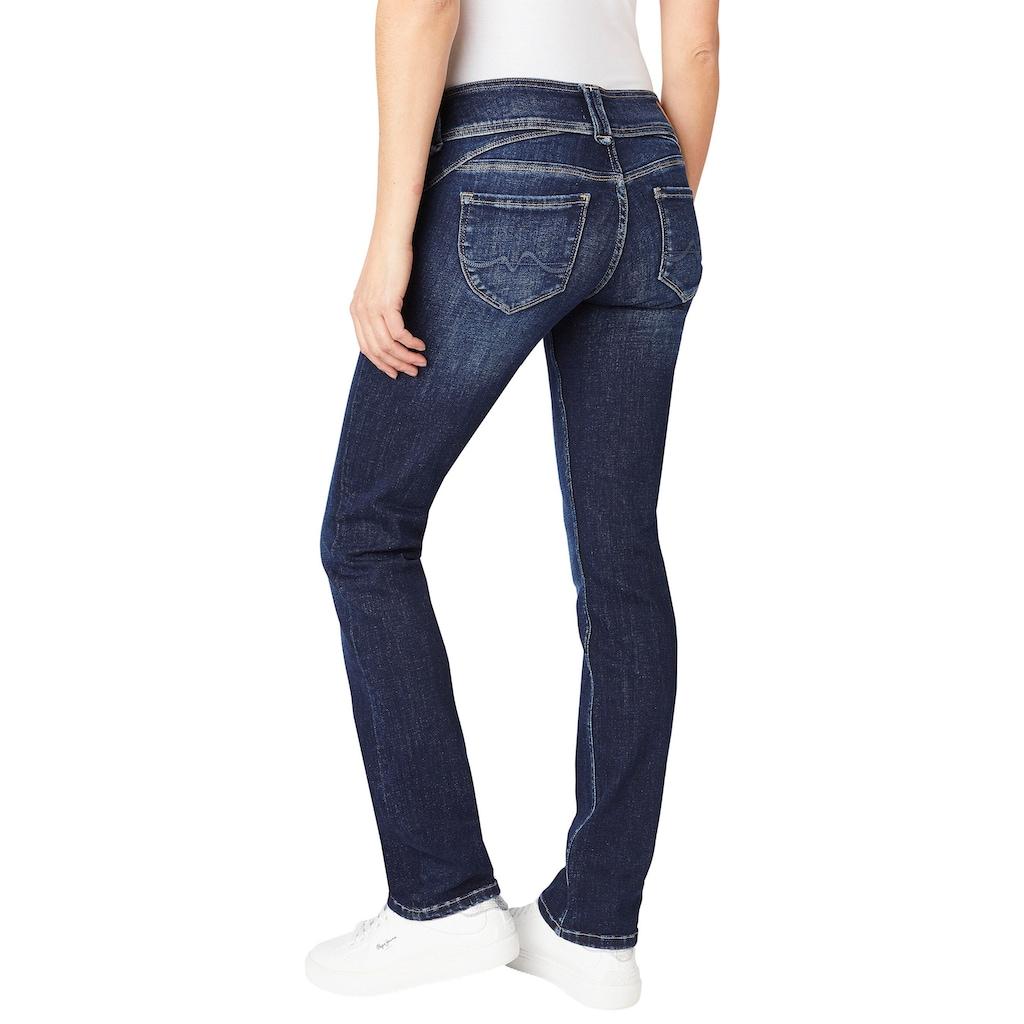 Pepe Jeans Gerade Jeans »NEW GEN«, Straight Passform mit mittelhohem Doppel-Knopf-Bund und unsichtbarer Coinpocket in tollem Komfort Stretch Denim