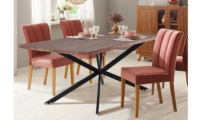 Home affaire Esstisch »Austin«, mit einem außergewöhnlichen Beinuntergestell aus Metall und einer massivem Akazienholz Tischplatte kaufen