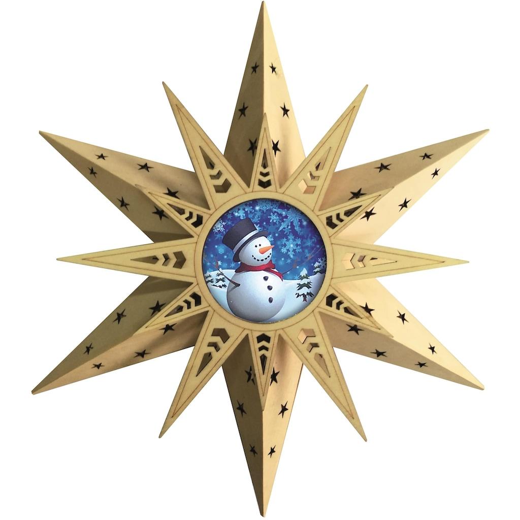 BONETTI LED Stern »Schneemann«, Warmweiß, mit Fernbedienung
