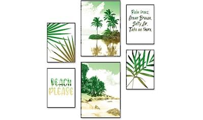 Artland Poster »Palmen, Strand & Meer«, Bäume, (6 St.), Poster, Wandbild, Bild, Wandposter kaufen