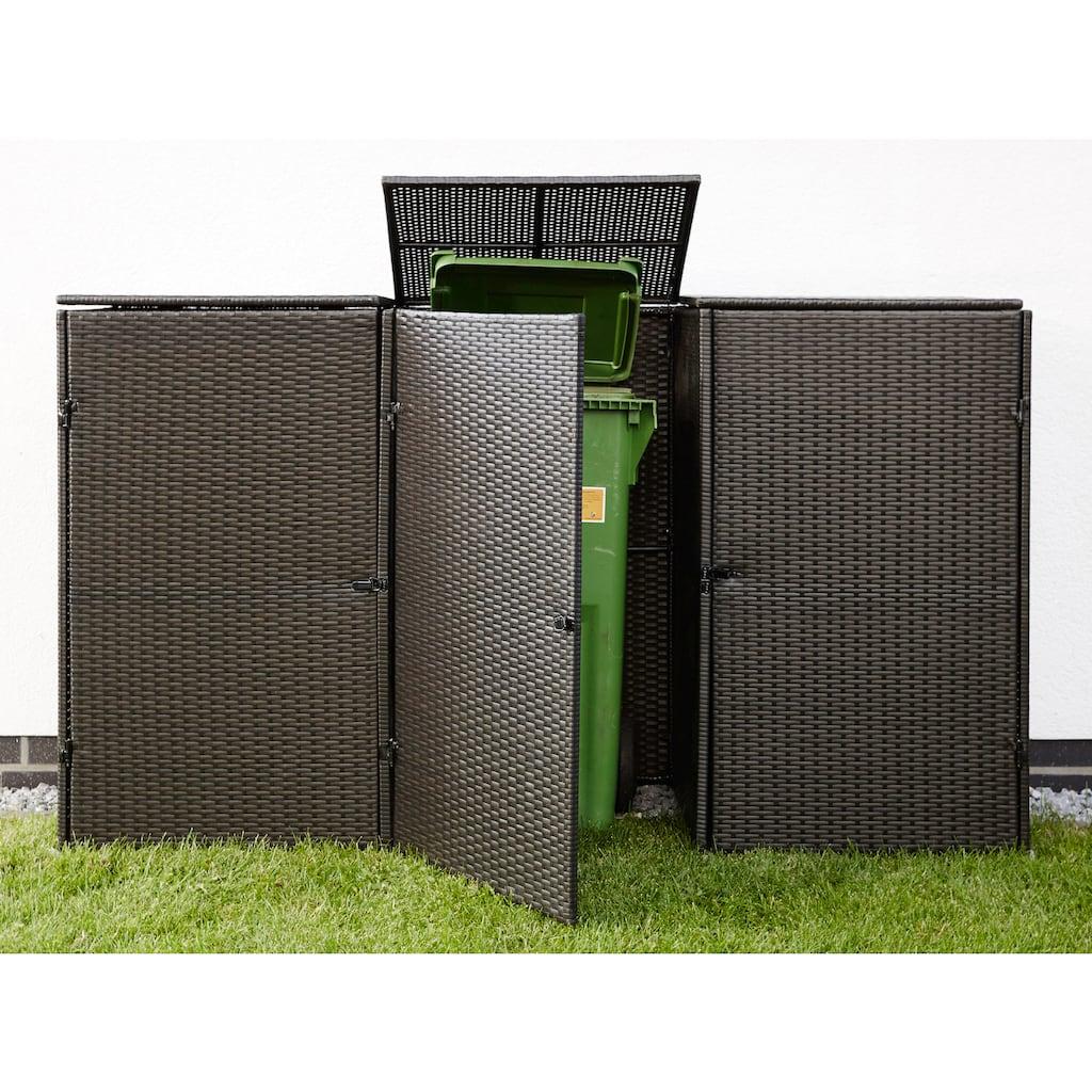HANSE GARTENLAND Mülltonnenbox, für 3x240 l aus Polyrattan, BxTxH: 228x78x123 cm